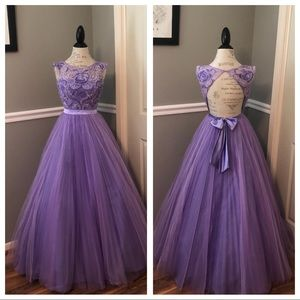 SHERRI HILL PURPLE BEADED TULLE  BALL GOWN